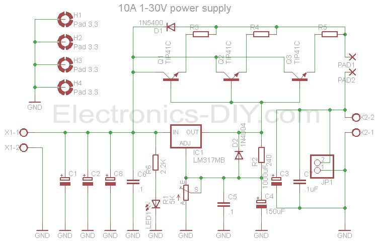 10a 1 30v Variable Power Supply With Lm317 Circuito Eletrico