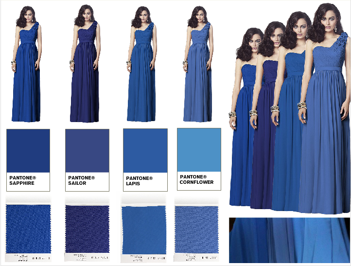 Bridesmaid Dresses in an ombre of blue from Dessy. In real life ...