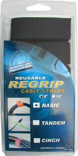 Amer Recrdr 8in Basic Cable Strap 6 Pck Black By American Recorder