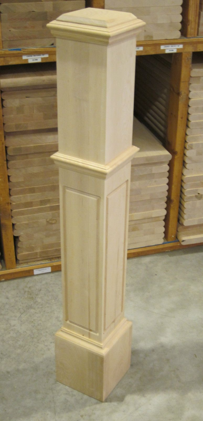 Modern block newel post