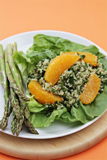 Quinoa tabbouleh with pickled asparagus and tangelos