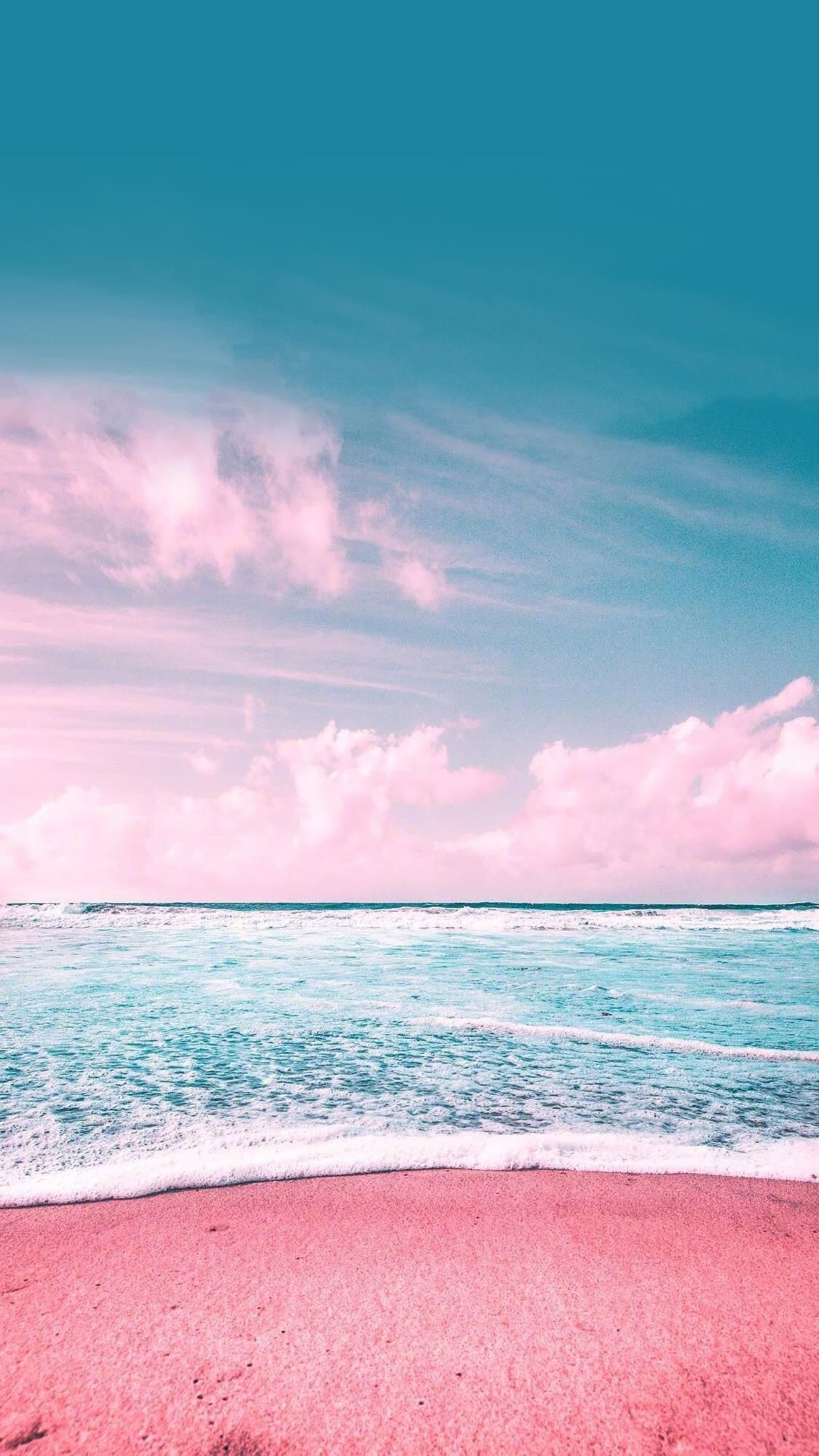 Pink Sky And Beach Blue Gentle Ocean Background For Iphone
