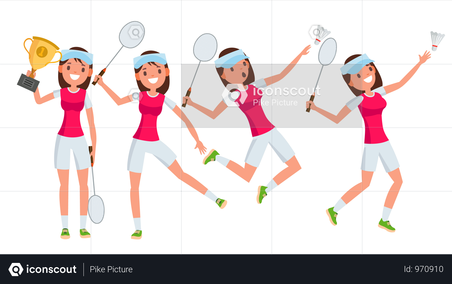 Premium Badminton Young Woman Player Vector Girl Athlete Player Jumping Practicing Flat Cartoon Illustration Illustration Download In Png Vector Format Badminton Athlete American Football Players