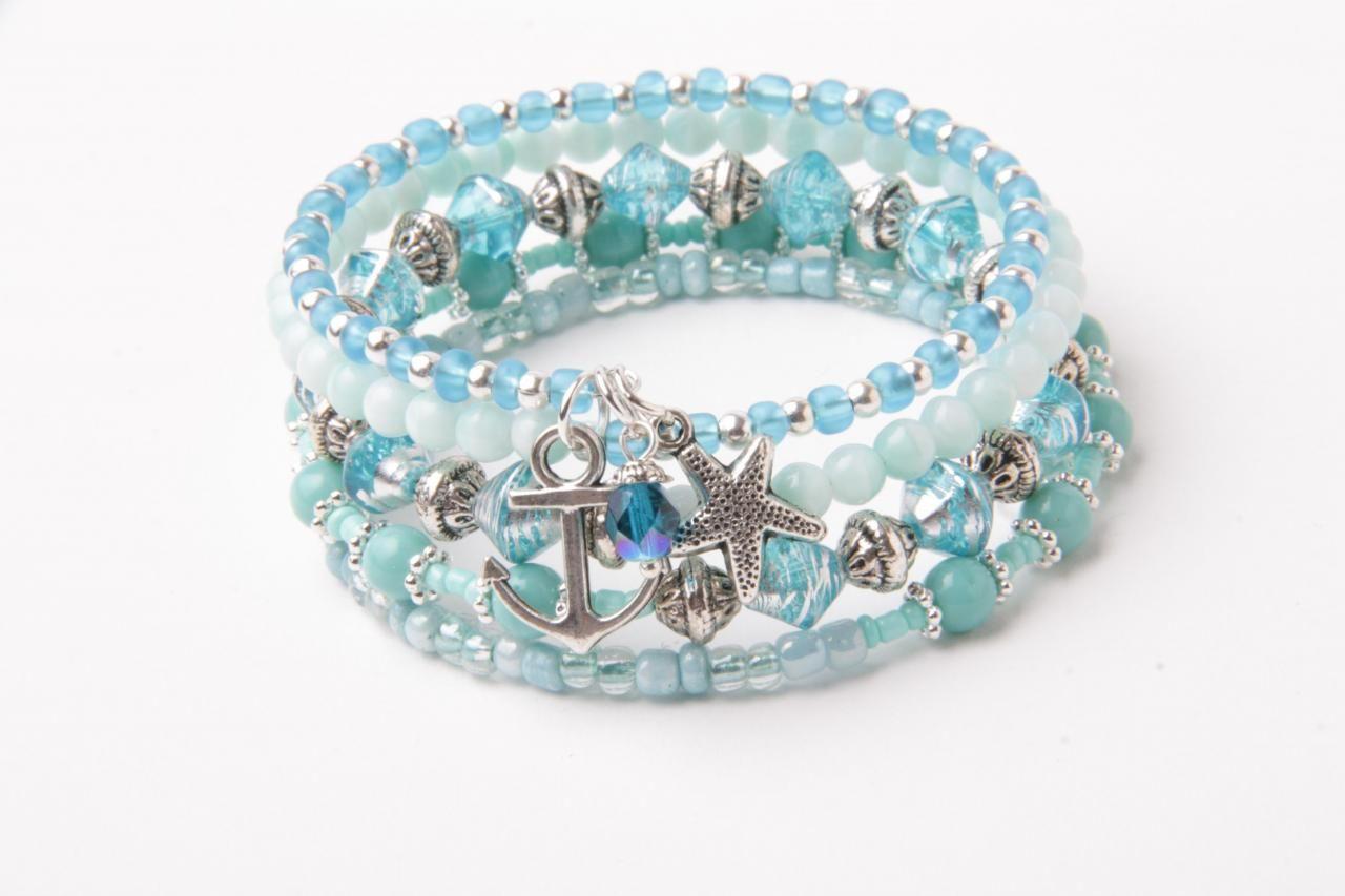 memory wire bracelet, wrap bracelet, starfish bracelet, aqua blue ...