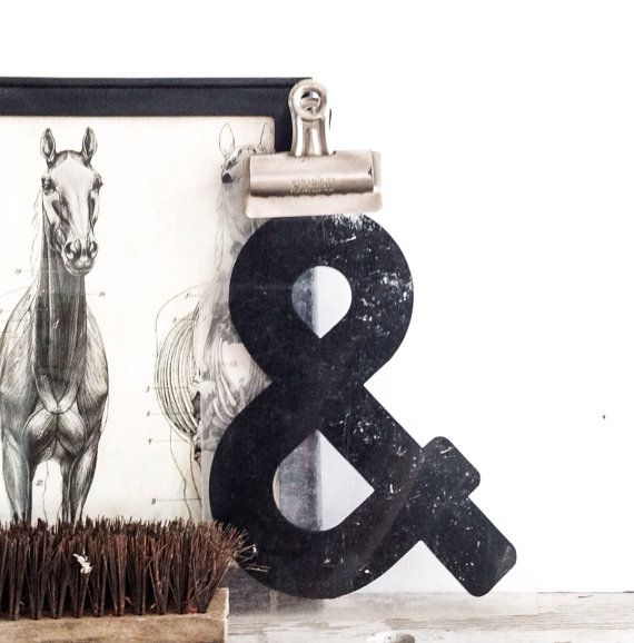 Vintage Black Ampersand Sign Plastic Industrial by pippamarxstudio, $11.00