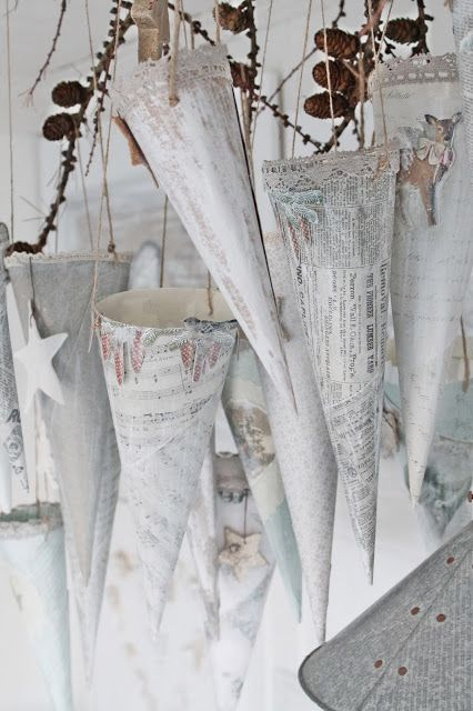 DIY:: Holiday- Winter White Vintage Inspired Swedish Snow Cones...