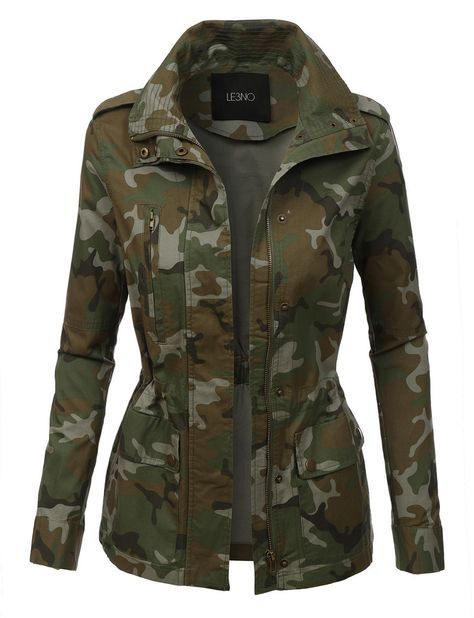 c7b1d9d19f LE3NO Womens Long Sleeve Camo Military Anorak Jacket with Pockets ...