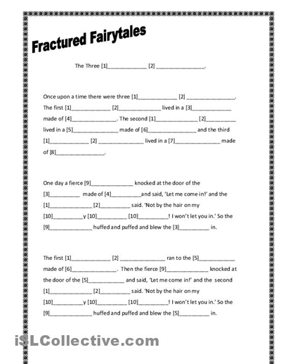 three little pigs writing template fractured fairytales three little pigs worksheet free esl printable