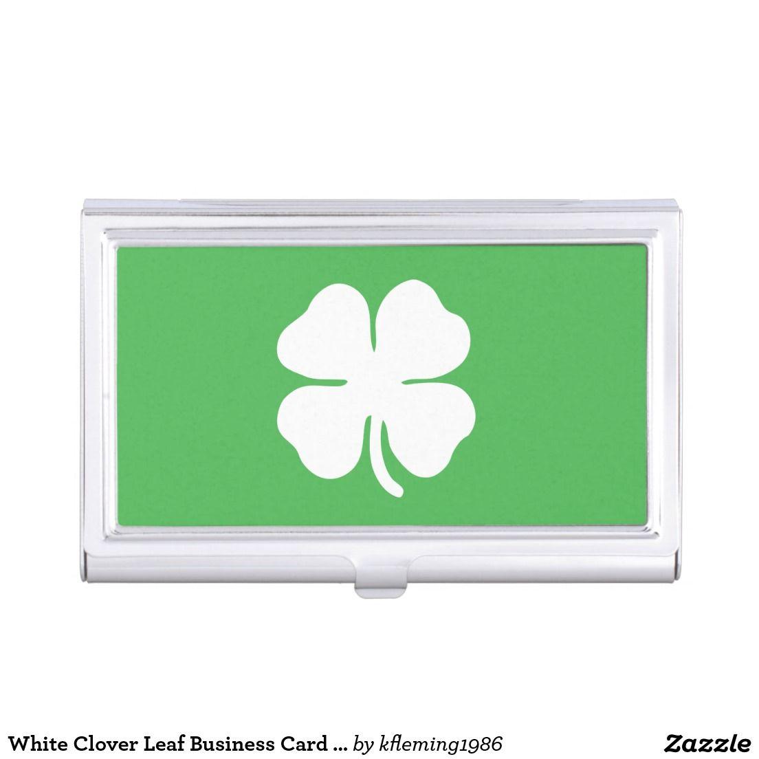 Green Shamrock Clover Business Card Holder