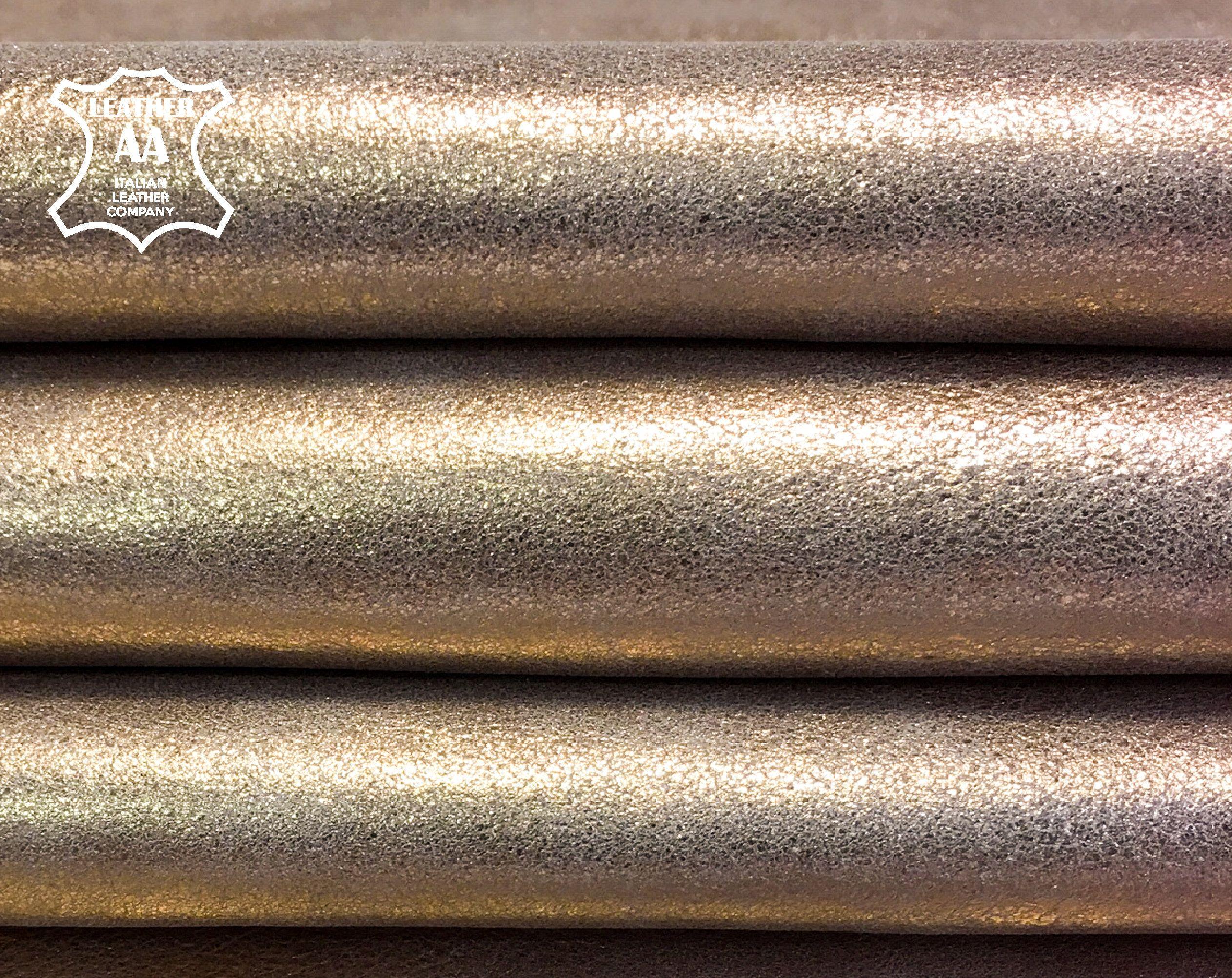 2 oz 0.8 mm Gold Italian Lambskin Hide leather skin Lamb Pearlized White