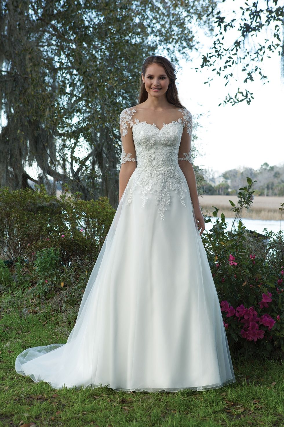 A-line wedding dress with lace illusion neckline and 3/4 illusion ...