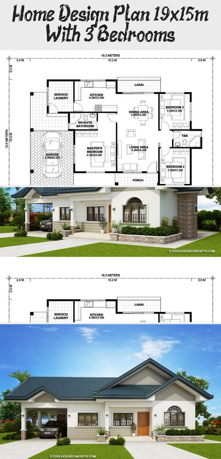 Home Design Plan 19x15m With 3 Bedrooms Home Design With Plansearch Bighouseplans Squarehouseplans Housep In 2020 Home Design Plan House Design Square House Plans