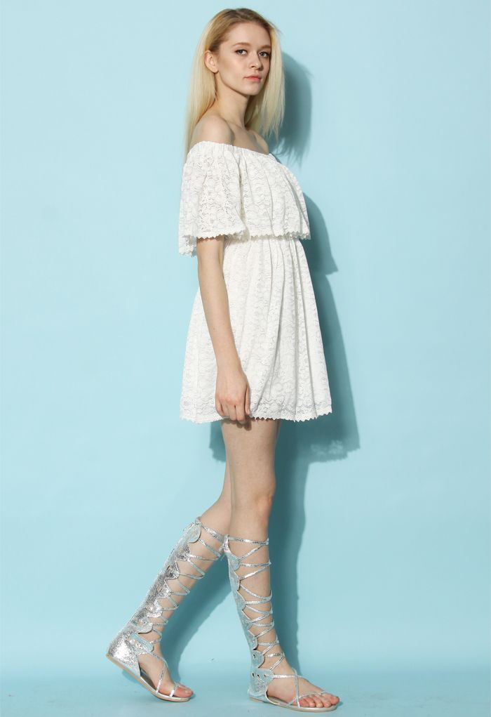 Lost in Lace Off-shoulder White Dress - Dress - Retro, Indie and Unique Fashion