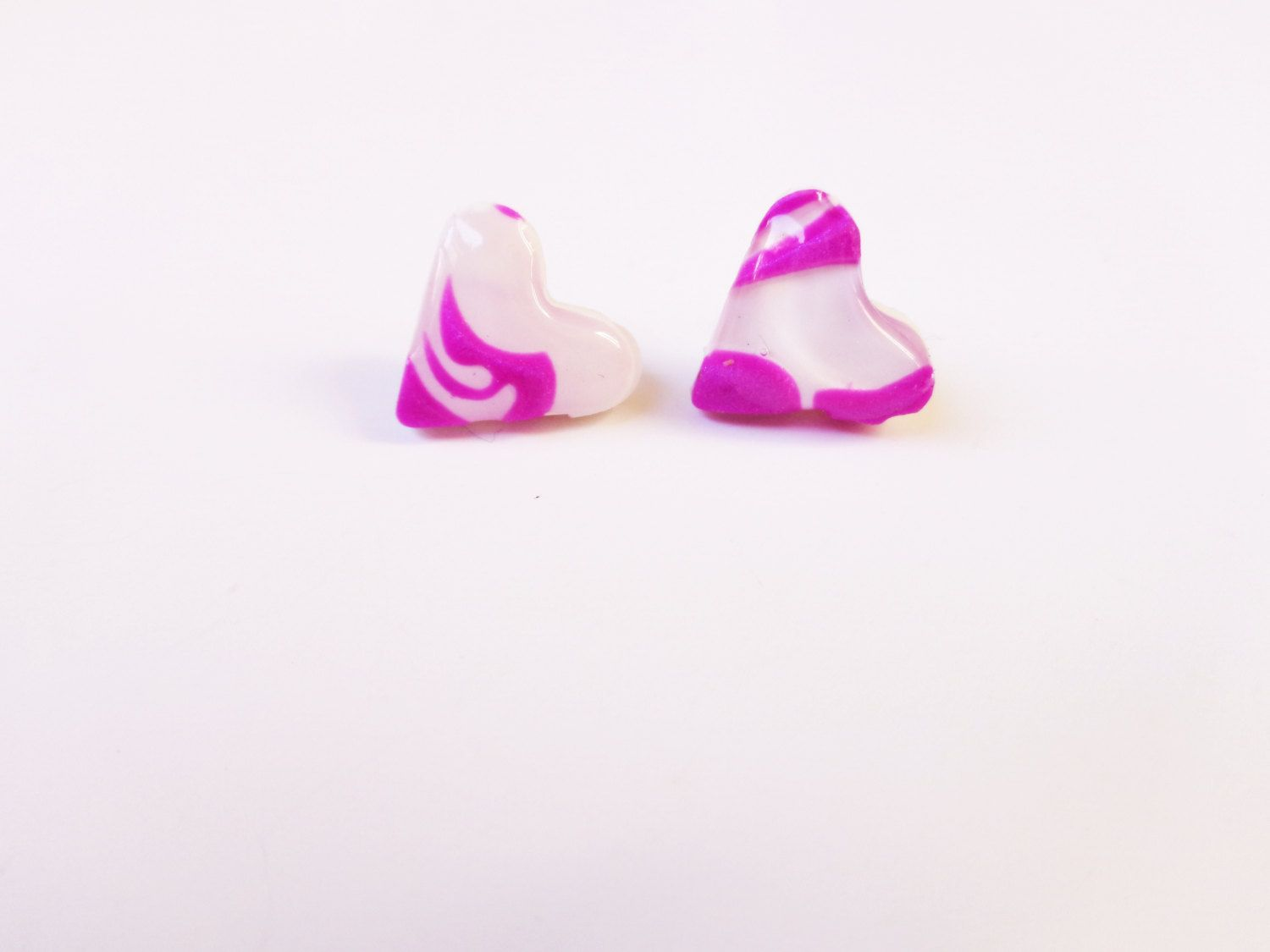 Heart Stud Earrings, Polymer Clay Heart Earrings, Stainless Earrings For  Sensitive Ears, Gift For Her, Christmas Gift For Women By Fairydusthc On  Etsy