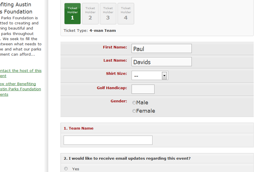 Example Of Custom Registration Form  Whindo Event Registration
