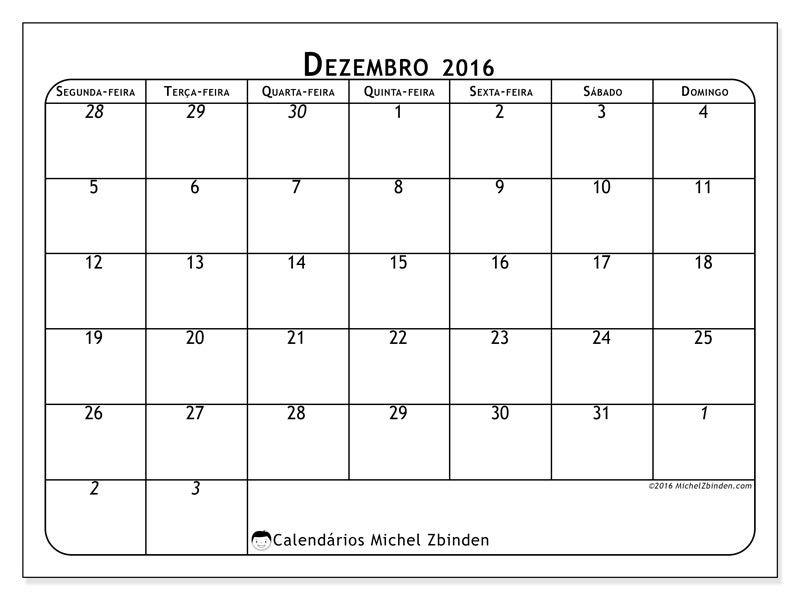 Livre! Calendários para dezembro 2016 para imprimir