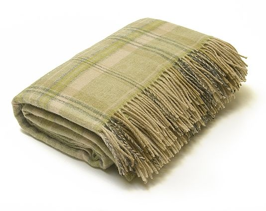 Tartan Throw A Lovely Soft Lambswool In Light Green And Beige Perfect To