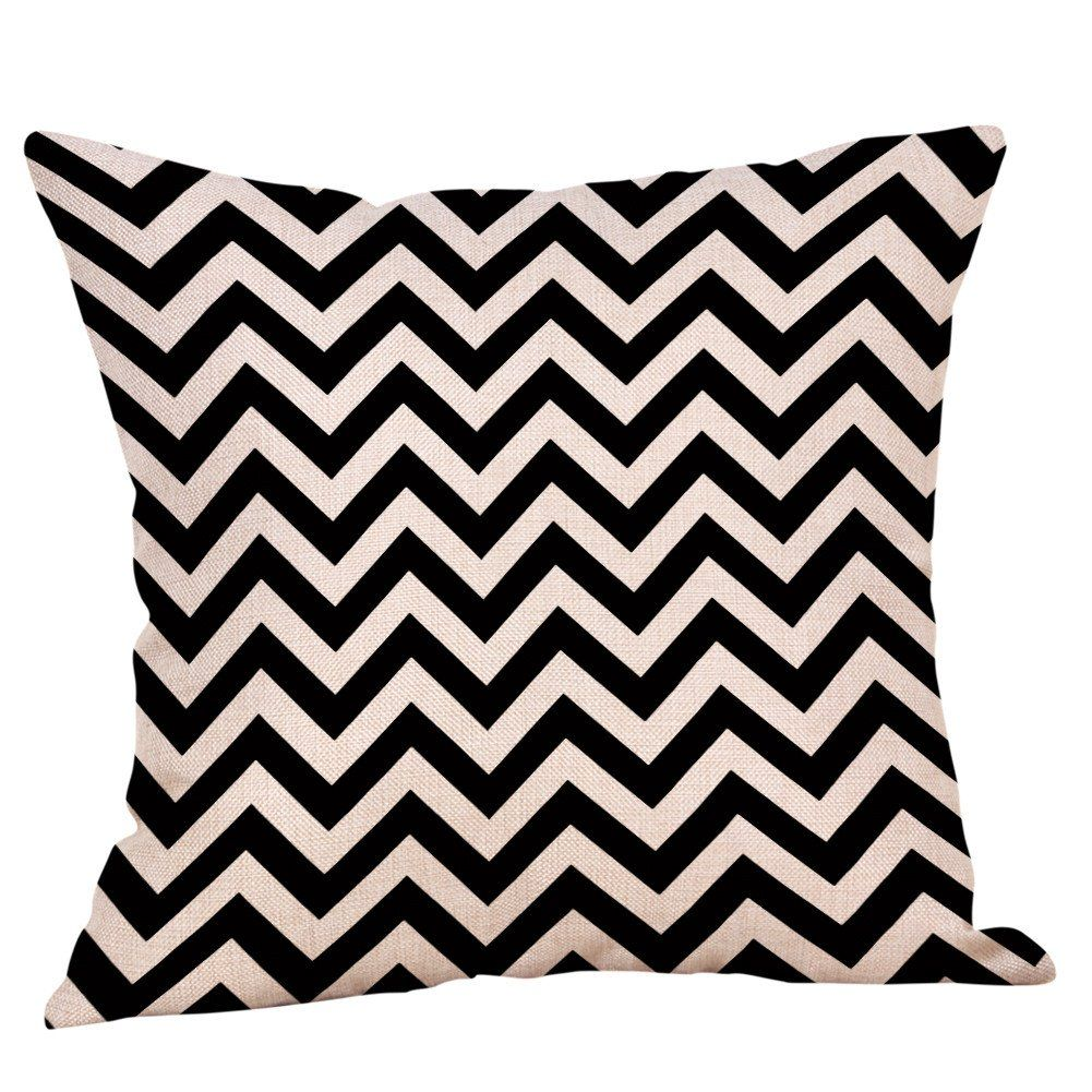 Arystk Pillow Cases Black and White Pattern Printed Cotton