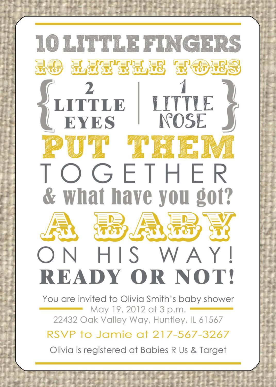 Baby Shower Invitation - Gender Neutral. $15.00, via Etsy. | Baby ...