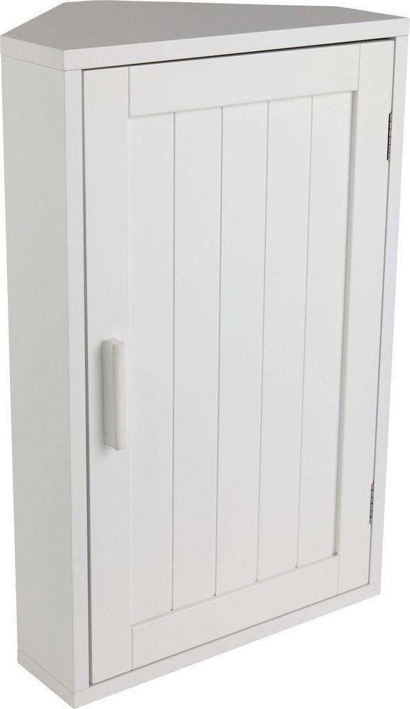 Bathroom Storage Cabinet Wooden White Corner Wall Shaker Unit Shelf Door  Vanity