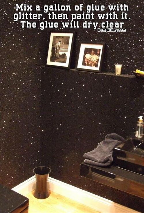 Mix glue with glitter, then paint with it... Boom!!! . Glitter wall at your service :) enjoy
