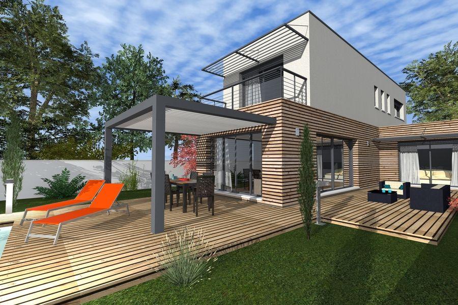 Maison moderne bardage bois et toit terrasse Loft, Container House