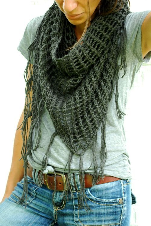 Crochet Scarf. | patrones | Pinterest | Gris, Tejido y Chal