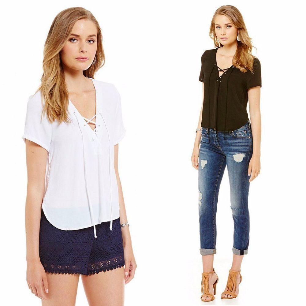 2c2a54cf51 Elan USA Lace Up Boho Short Sleeve Crepe Crop Top Hi Low V-Neck White Black  S-L  Elan  LaceUpBlouse  Casual