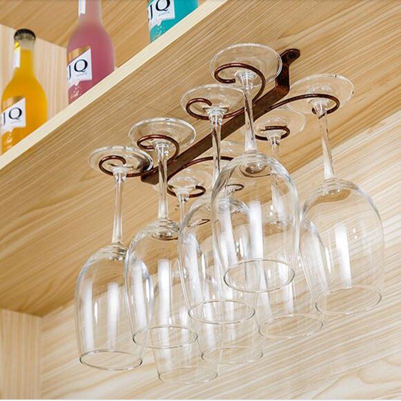 1-4 Rows Wine Glass Rack Under Cabinet Stemware Holder Storage Hanger Metal Wire