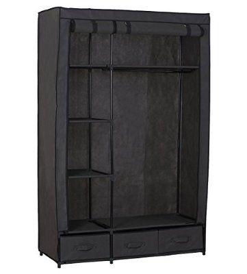 woltu ss5027gr armoire penderie en tissu placard de rangement en toile la garde robe avec. Black Bedroom Furniture Sets. Home Design Ideas