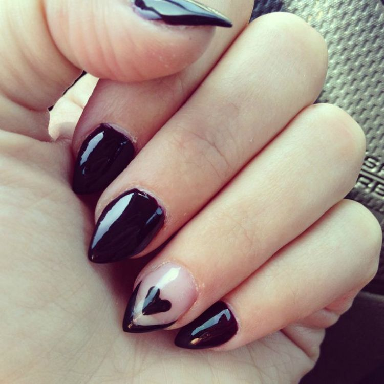 Short Pointed Black Nails - http://www.mycutenails.xyz/short-pointed ...