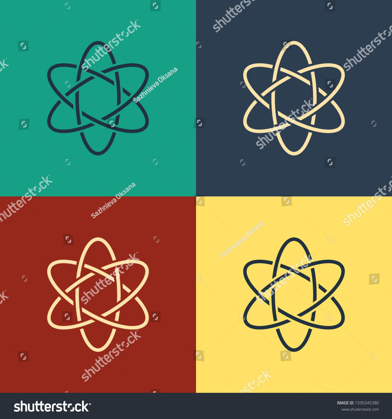 Color Atom icon isolated on color background. Symbol of