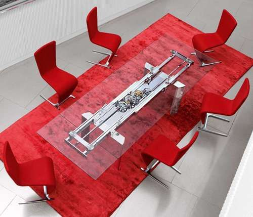 Modern Mechanized Furniture Modern Dining And Toilet - Ultra modern glass dining table
