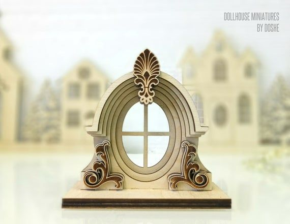 DOLLHOUSE ACCESSORIES Victorian Decorative window Miniature
