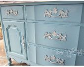 Tiffany Blue and White French Provincial Buffet or Dresser/etsey