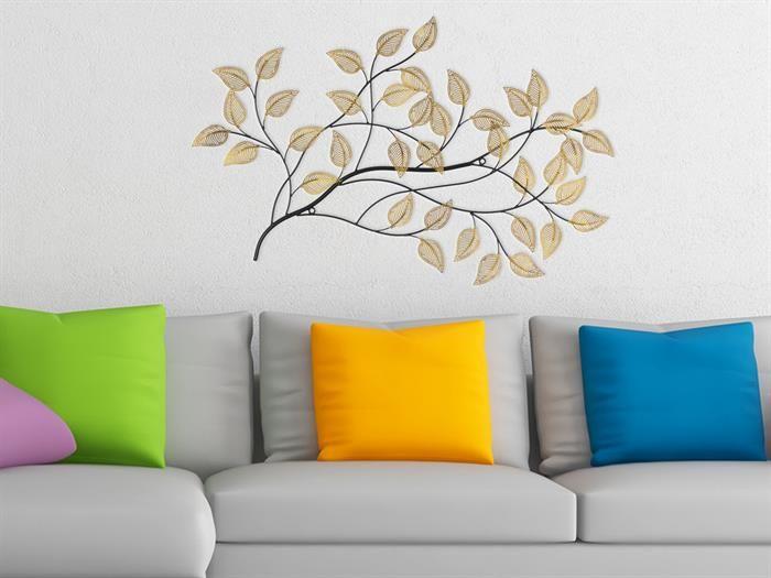 Gilde - GOLDEN LEAF - Metall Wandrelief - Wanddeko Wohnzimmer - leinwand für wohnzimmer