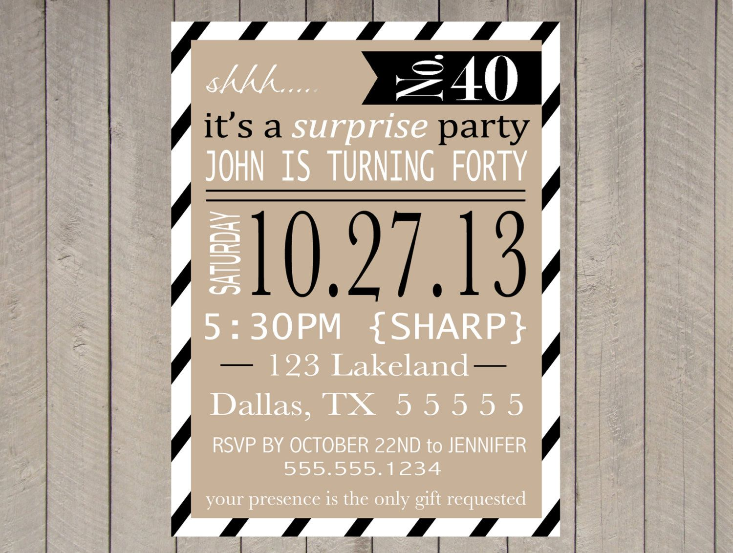 adult surprise party invitation printable  40th birthday