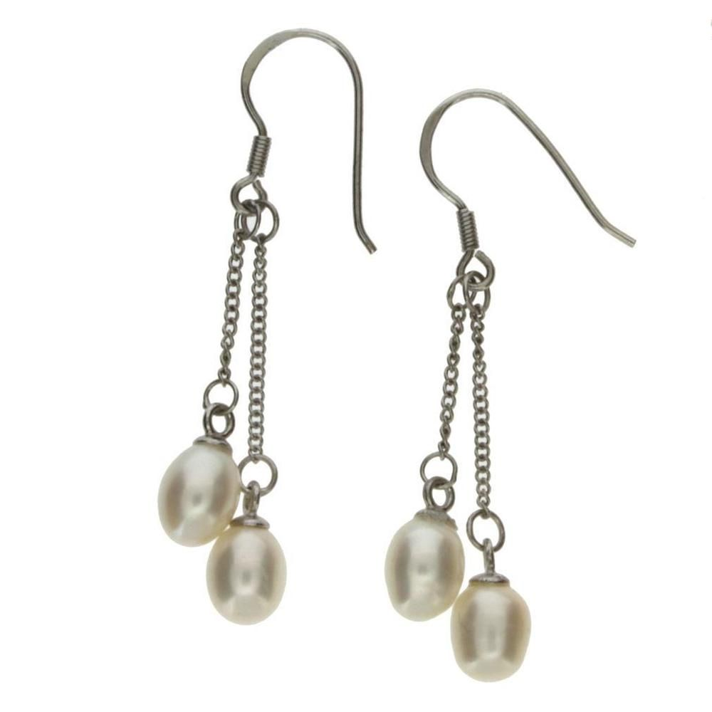 White Pearl Dangle Chain Earrings Sterling Silver Jewelry Hook YOU450 #Younique #DropDangle