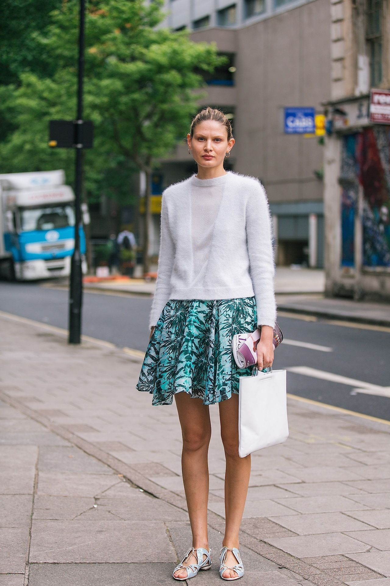 A fluffy sweater and printed flippy skirt are always welcome.