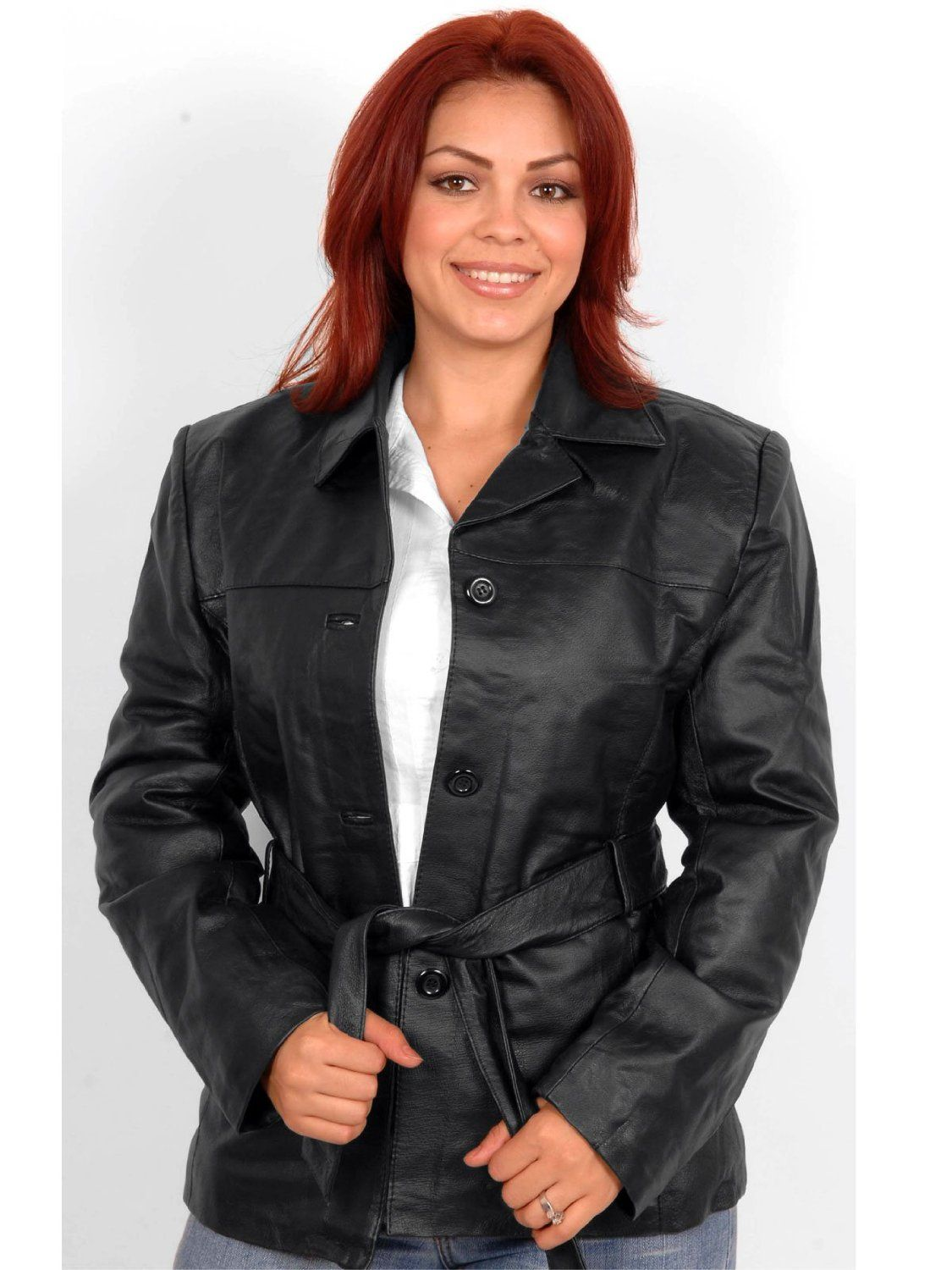 Womens Real Leather Jacket With Buttons And