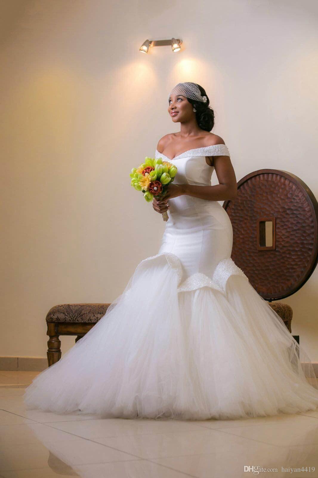 Plus size african wedding dresses   New Arabic African Mermaid Wedding Dresses Off Shoulder Crystal