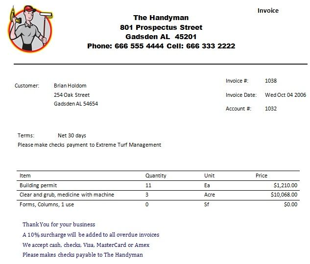 Printable Handyman Invoice Business Pinterest Template, Sample