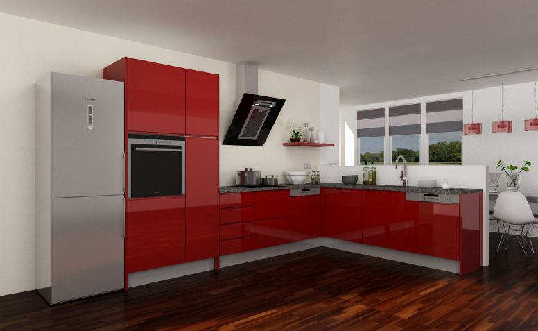 Modelo de cocina con puerta croacia laca rojo pala 158 for Modelos de cocinas