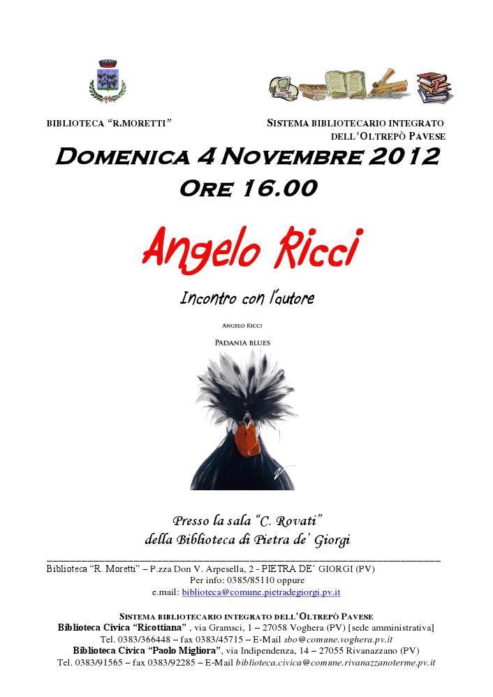 """Prima presentazione di """"Padania blues"""" (Eumeswil Ediziioni). Domenica 4 novembre."""