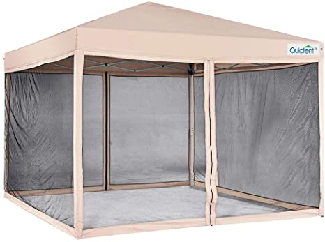Amazon Com Quictent 10x10 Ez Pop Up Canopy With Netting Gazebo Mesh Side Wall Screen House Tent With Roller Bag Tan Garden In 2020 Screen House House Tent Gazebo