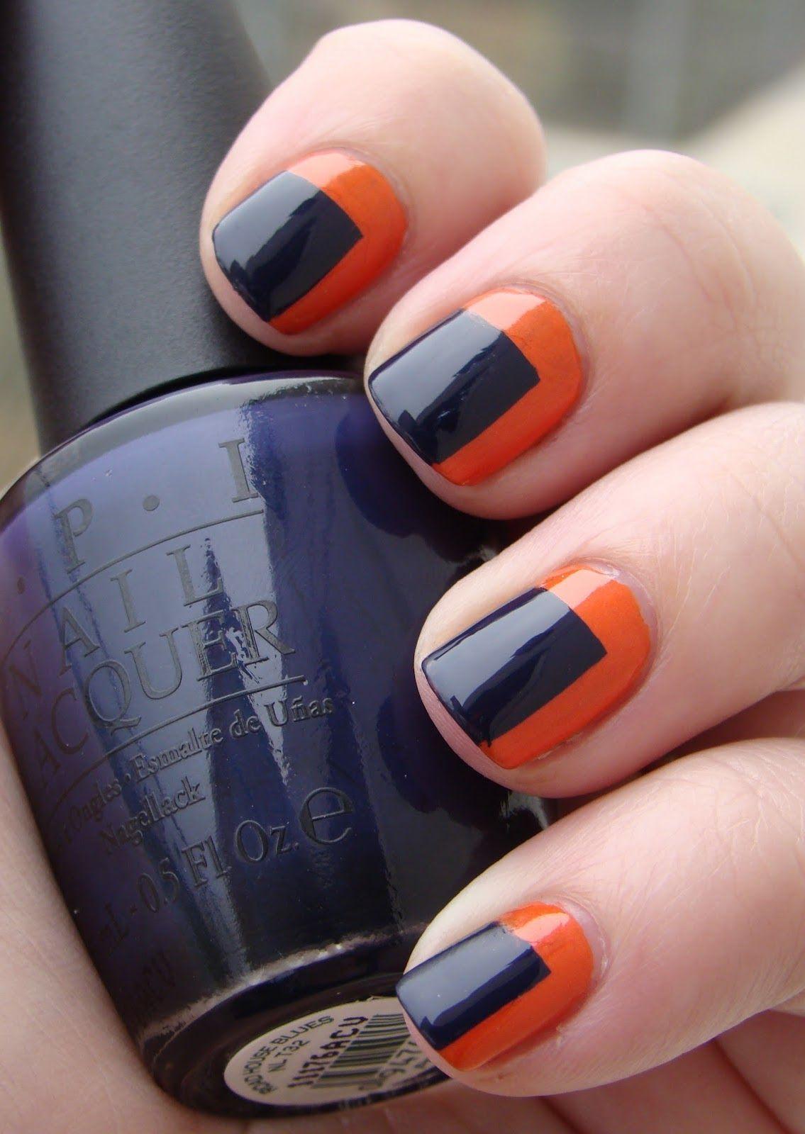 Orange Navy Nails Nail Art Nails Hair Nails