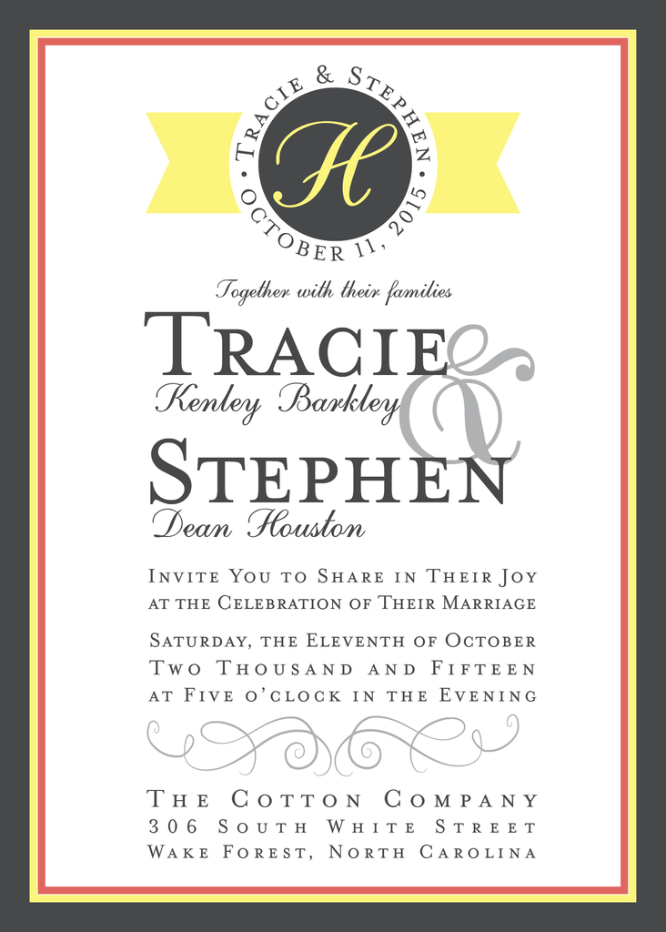 Banner Monogram Invitation | Wedding Invitations | Pinterest ...