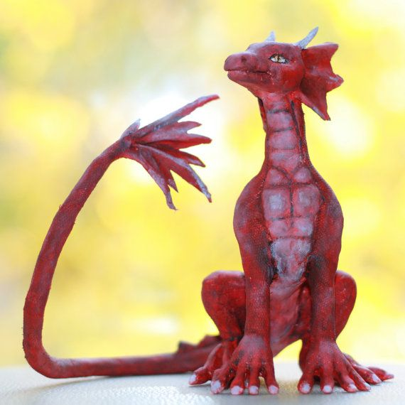 Dragon. Colored red OOAK figure. by NataliyaPlatova on Etsy