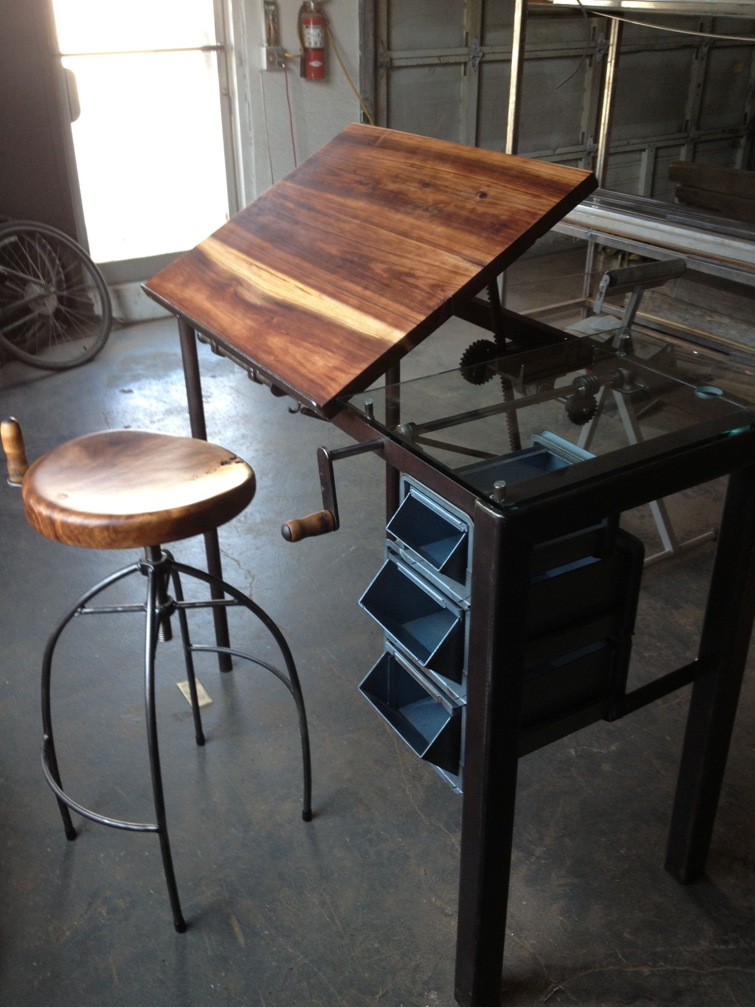 Rupert Industrial Architect Work Table Desk With Attached Seating ...