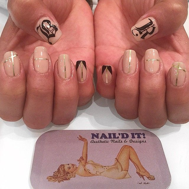65 Likes 2 Comments Nail 39 D It Naild It Salon On Instagram Gold Stripes With Hand Painted Old English Letter Nails Nails Inspiration Hair And Nails
